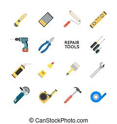 Construction equipment vector set. Working tools for repair and construction. Hand drill, saw, level, hammer, screwdriver and other construction tools. Home repair set isolated on white background.