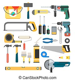 Working tools vector set. Tools for repair and construction. Hand drill, saw, level, hammer, screwdriver and other construction tools. Home repair flat vector icons.