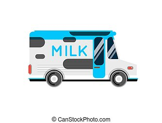 Delivery milk truck vector illustration.