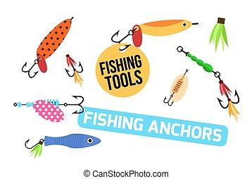 Fishing lure vector set. Fishing tools illustration. Fishing...