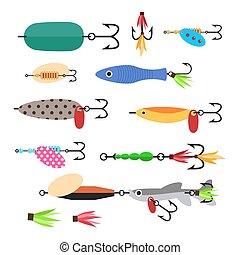 Fishing lure vector set Fishing tools illustration Fishing...