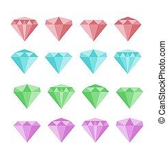Diamond vector set. Diamond stone vector illustration....