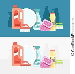 Cleaning tools set. Detergents for cleaning home or hotel....