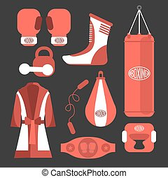 Fighting and boxing equipment Boxing gloves vector...