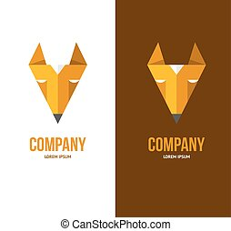 Fox logo template Triangle orange fox sign For computer...