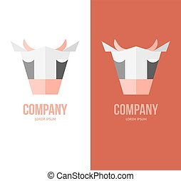 Head design of the cow for dairy products, a butcher shop or farm.
