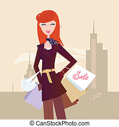 Fashion woman with shopping bags in town - Elegant woman...