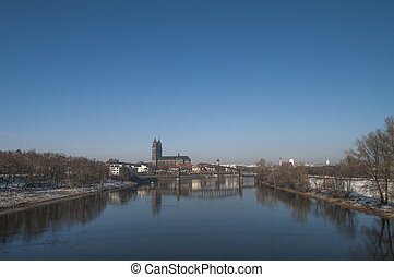 Old Cathedral and river Elba in Magdeburg, Autumn time - Old...
