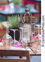 Wineglasses and table setting