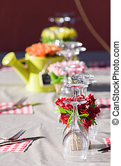 Wineglasses and table setting - Wineglasses and table...