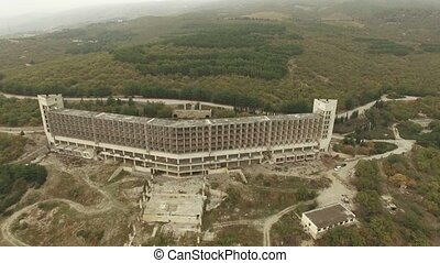 AERIAL VIEW. Carcass Of Big Industrial Building In Suburbs