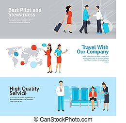 Airlines Banners Set - Airlines horizontal banners set with...