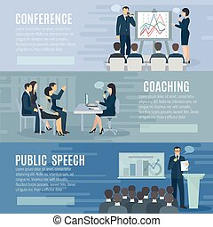 Public Speaking Flat Horizontal Banners Set - Public speech...