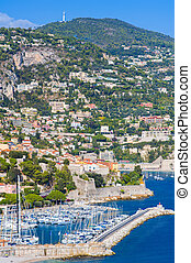 Villefranche-sur-Mer on the French Riviera - View of luxury...