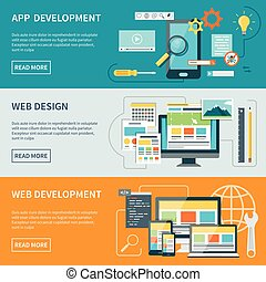 Website Development Banners - Set of three horizontal...
