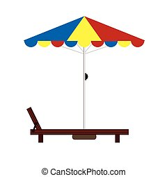 deckchair color illustration - deckchair color with umbrella...