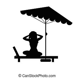 woman relax on deckchair illustration in black color