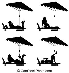 woman set relax on deckchair illustration in black color