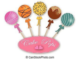 Cake pops - Vector set of different cake pops. Package...