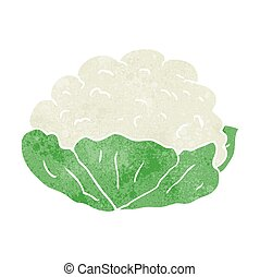 retro cartoon cauliflower - freehand retro cartoon...