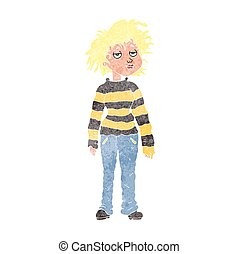 retro cartoon chilled out girl - freehand retro cartoon...