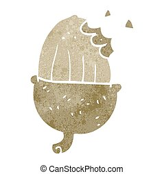 retro cartoon acorn - freehand retro cartoon acorn