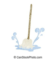 retro cartoon mop - freehand retro cartoon mop