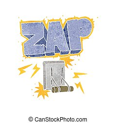 retro cartoon electrical switch zapping - freehand retro...