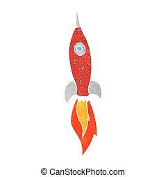 retro cartoon rocket