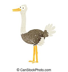 retro cartoon ostrich - freehand retro cartoon ostrich