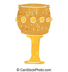 retro cartoon goblet - freehand retro cartoon goblet