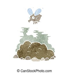 retro cartoon fly and manure - freehand retro cartoon fly...
