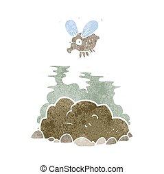 retro cartoon fly and manure - freehand retro cartoon fly...