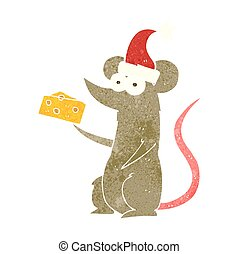 retro cartoon christmas mouse with cheese - freehand retro...