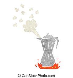 retro cartoon stovetop espresso maker - freehand retro...
