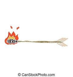 retro cartoon flaming arrow - freehand retro cartoon flaming...