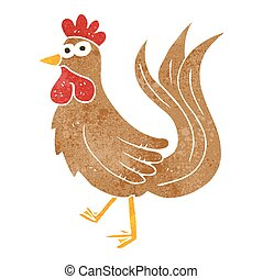 retro cartoon cock - freehand retro cartoon cock