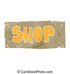 retro cartoon shop sign - freehand retro cartoon shop sign