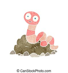 retro cartoon earthworm - freehand retro cartoon earthworm