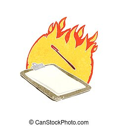 retro cartoon clip board on fire - freehand retro cartoon...