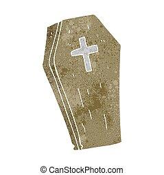 retro cartoon spooky coffin - freehand retro cartoon spooky...