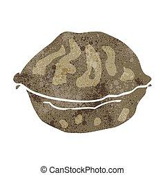 retro cartoon walnut in shell - freehand retro cartoon...