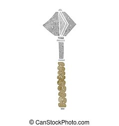 retro cartoon medieval mace - freehand retro cartoon...