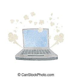 retro cartoon laptop computer fault - freehand retro cartoon...