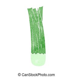 retro cartoon leek - freehand retro cartoon leek