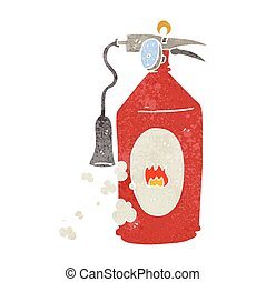 retro cartoon fire extinguisher - freehand retro cartoon...