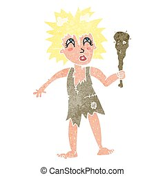 retro cartoon cave woman - freehand retro cartoon cave woman