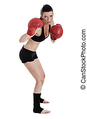 Strong confident woman doing boxing