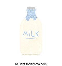 retro cartoon milk bottle - freehand retro cartoon milk...