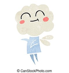 retro cartoon cute cloud head imp - freehand retro cartoon...